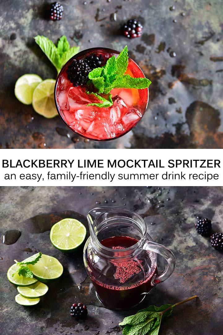 Blackberry Lime Mocktail Spritzer Recipe aka Loganberry Drink Copycat
