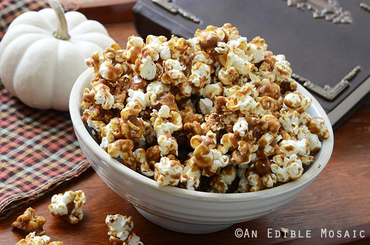Butterbeer Popcorn Recipe in White Dish on Wooden Table