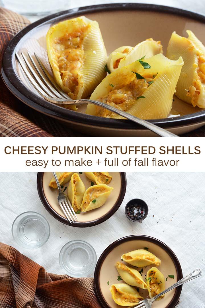 Cheesy Pumpkin Stuffed Shells Pin