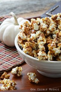 Close Up Front View of Harry Potter Butterbeer Popcorn Recipe in White Bowl