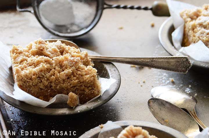 Piece of Pumpkin Coffee Cake in Vintage Metal Bowl with Spoon