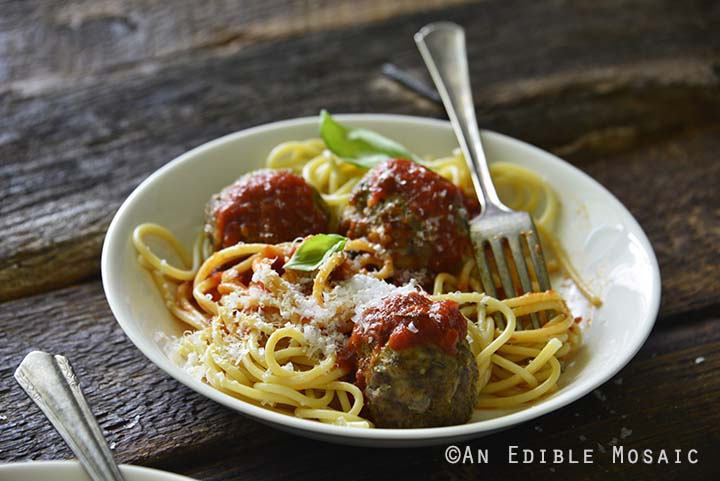 Classic Meatball Recipe with Spaghetti in White Bowl
