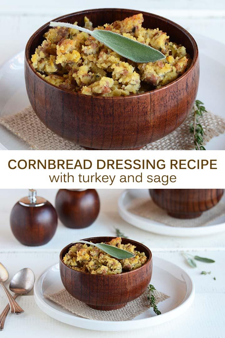 Cornbread Dressing Recipe with Turkey and Sage Pin