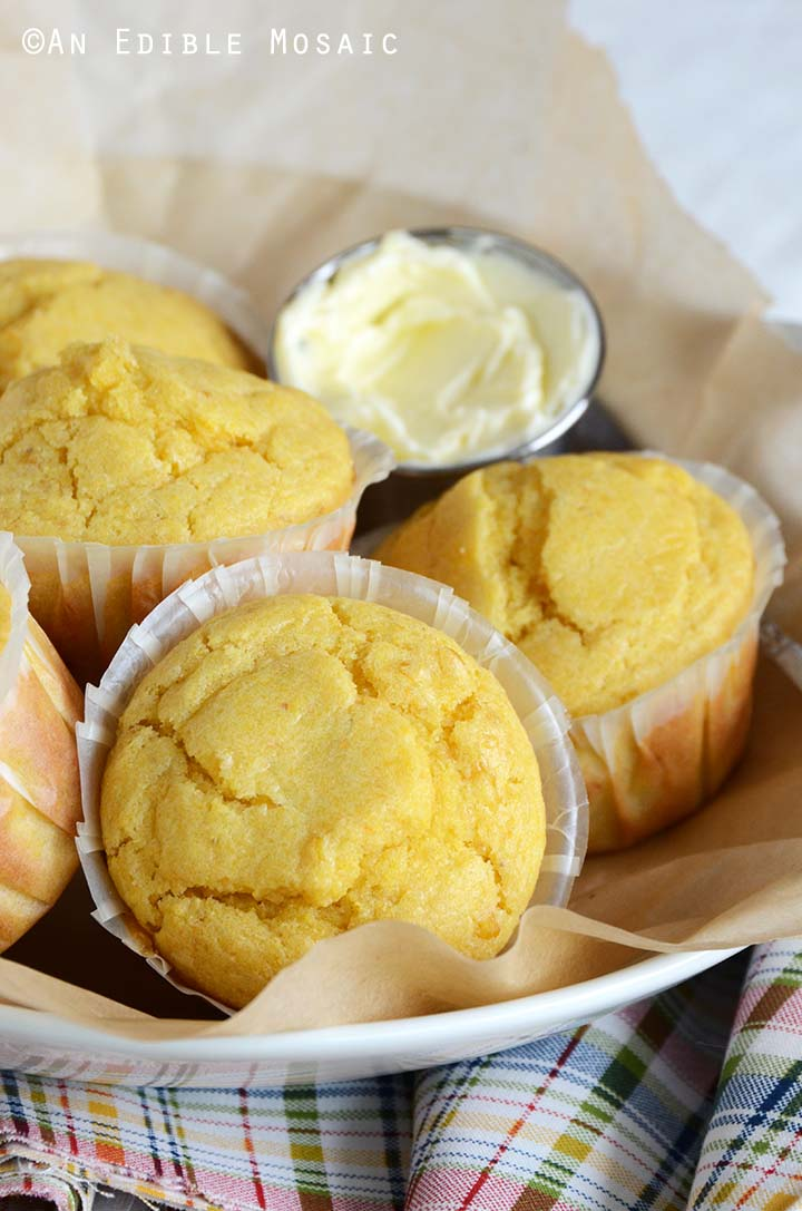 Front View of Platter of Cornbread Muffins