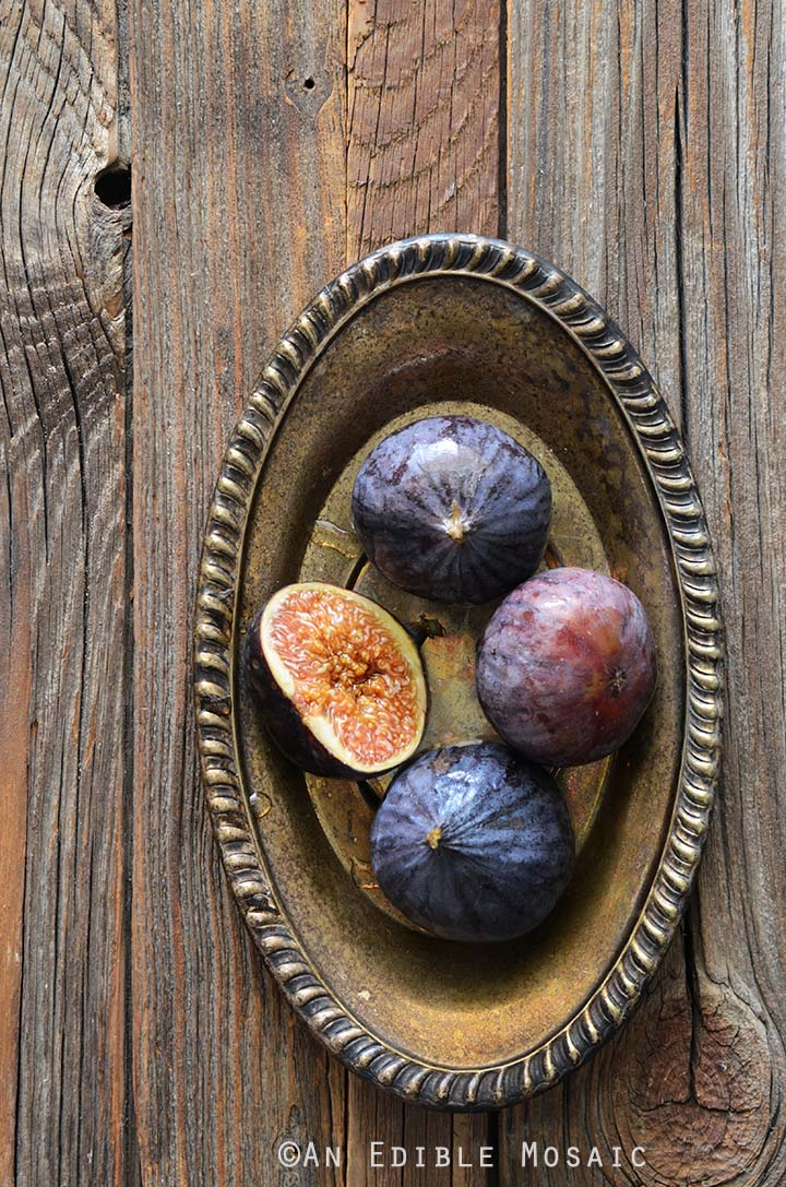 Fresh Figs on Metal Tray on Wooden Table
