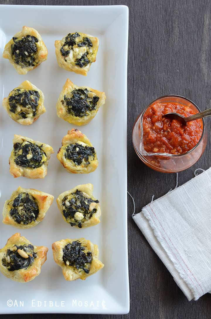 Top View of Spinach Puff Pastry Appetizer on White Platter