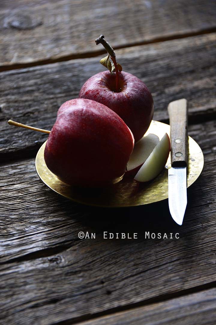 Apples on Gold Plate with Paring Knife