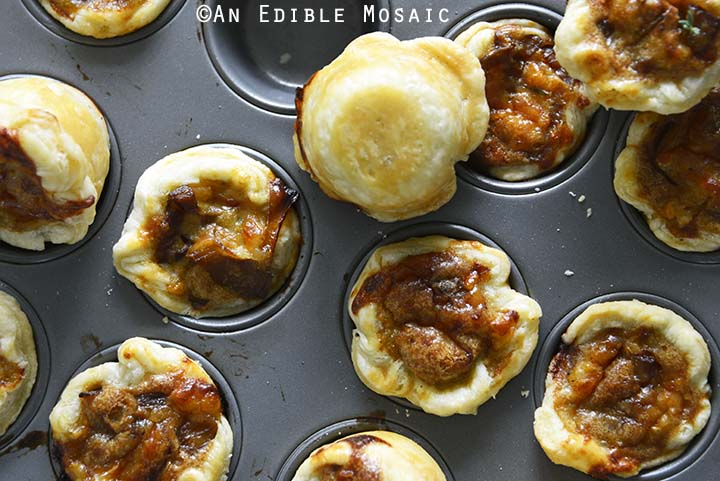 Baked French Onion Tartlets in Mini Muffin Tray