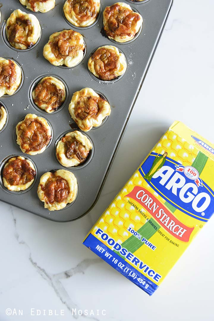 Baked Onion and Cheese Tartlets with Argo Corn Starch