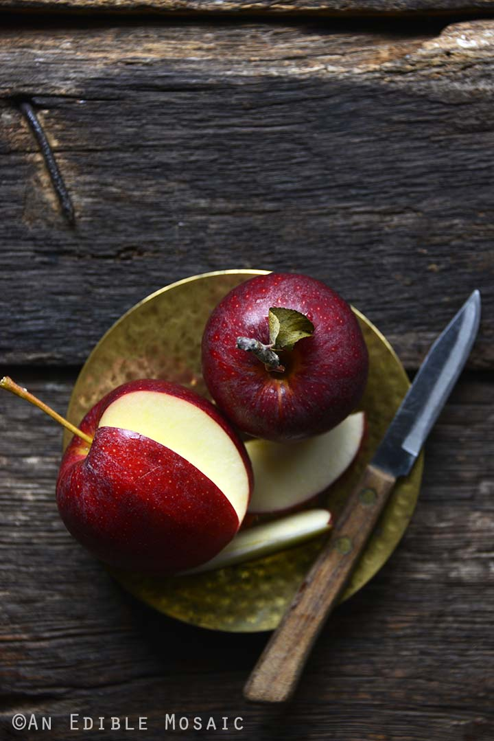 Gala Apples on Small Gold Plate