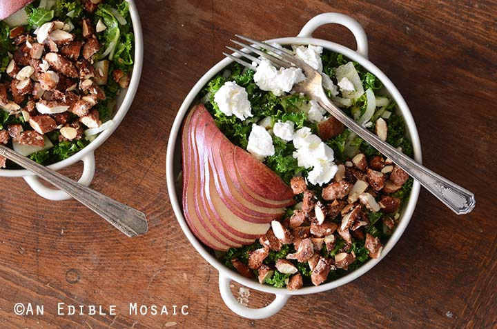 Overhead View of Pear Kale Salad Recipe in White Bowl with Vintage Fork