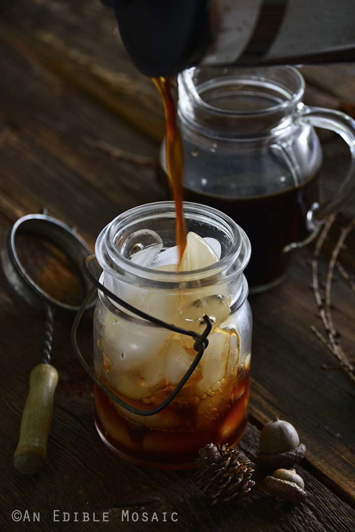Pouring Cold Brew Coffee into Glass Jar