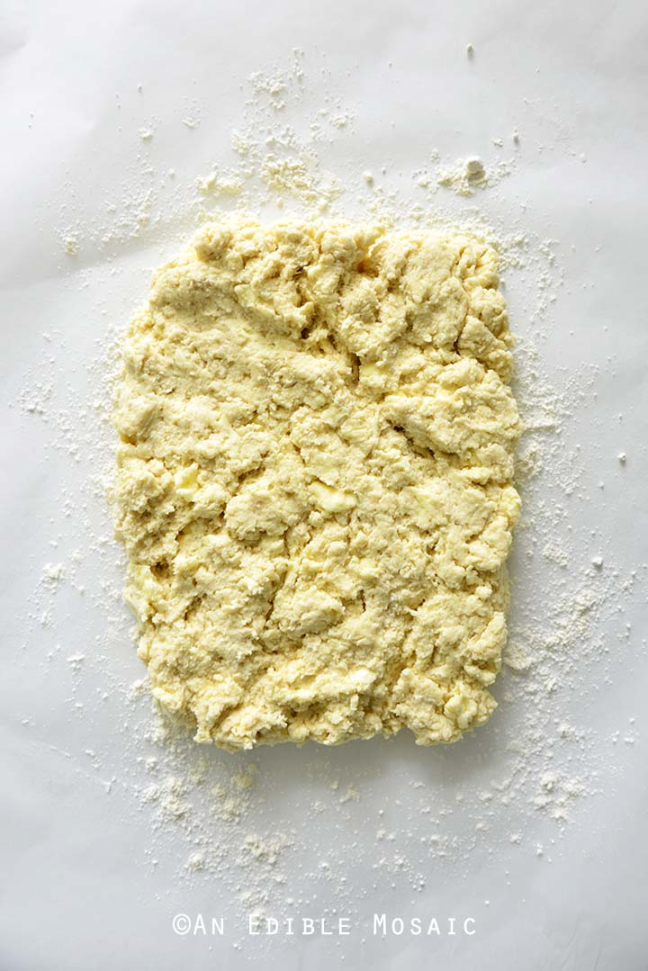 Biscuit Dough Pressed Into Rectangle