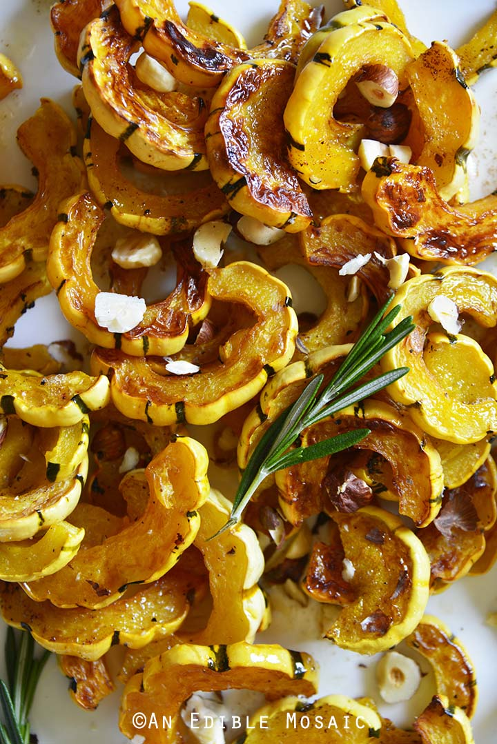 Close Up Top View of Roasted Delicata Squash