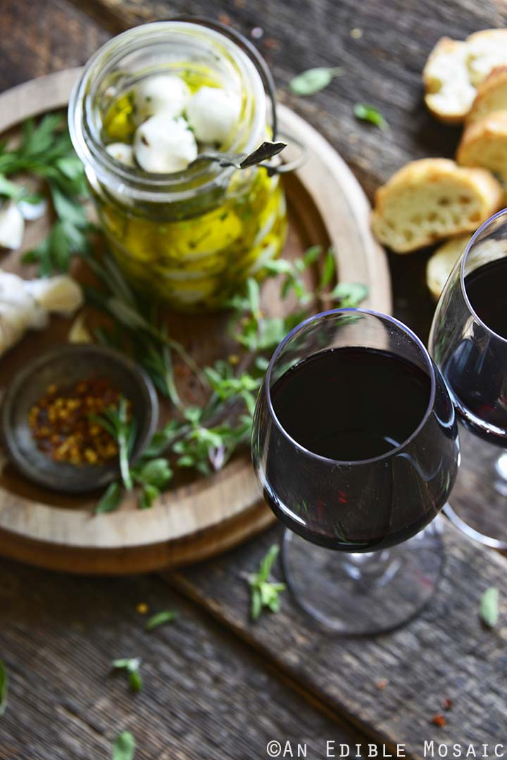 Glasses of Decoy Wine with Marinated Mozzarella