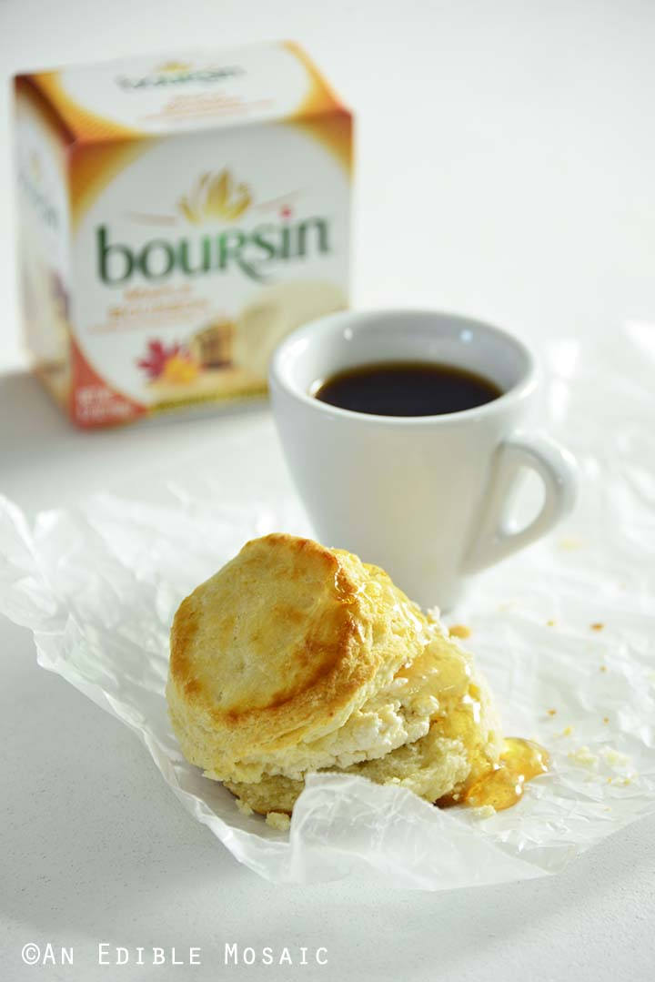 Maple Bourbon Buttermilk Biscuit with Honey and Boursin Package