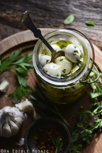 Marinated Mozzarella in Vintage Glass Jar