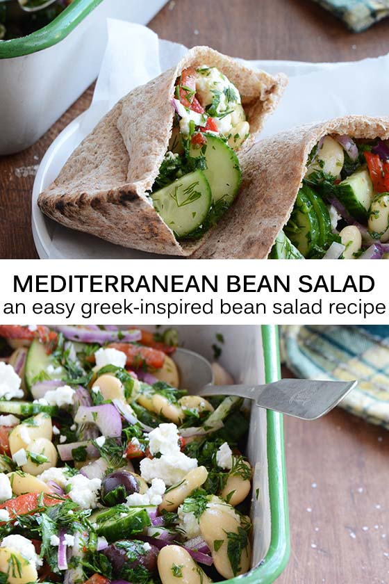 Mediterranean Bean Salad Recipe Pin