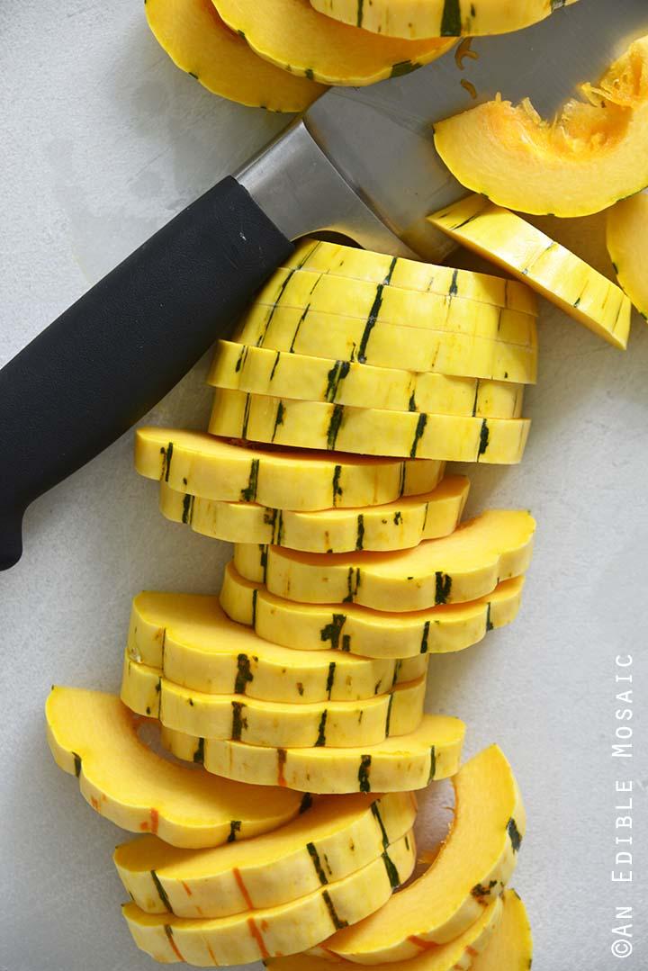Sliced Delicata Squash on White Cutting Board