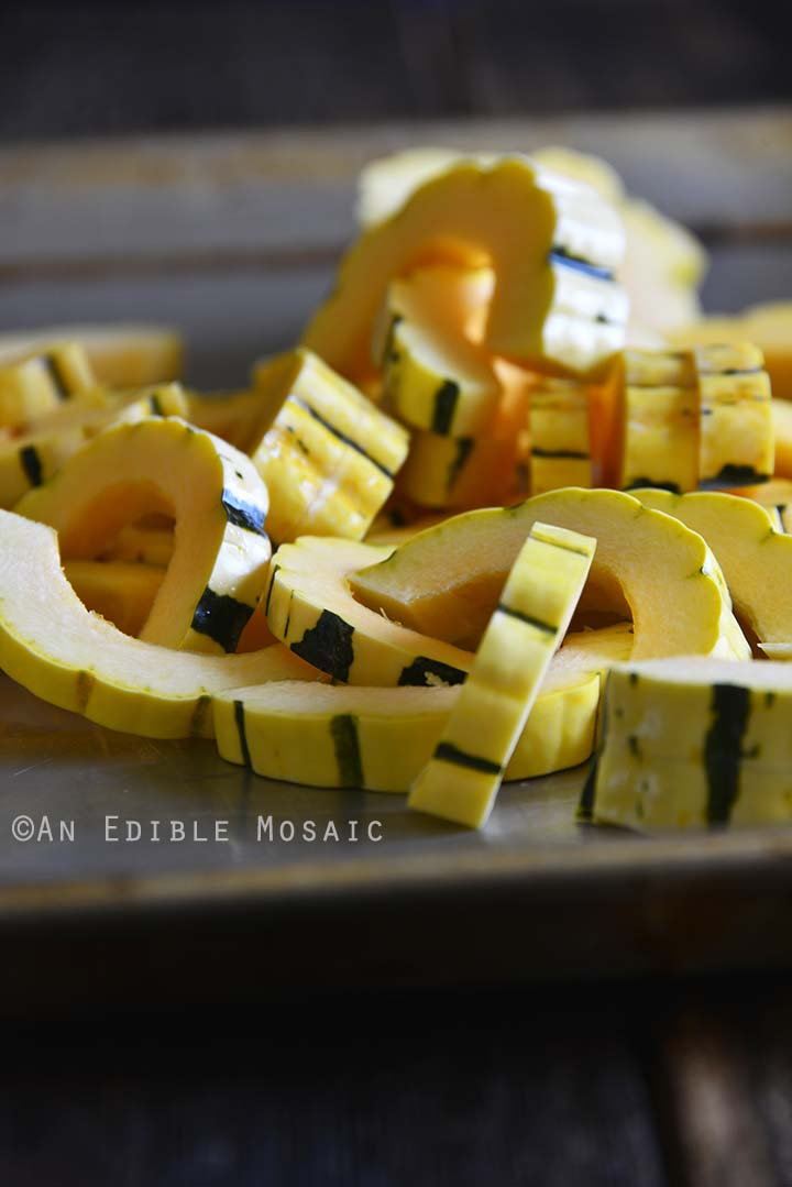 Sliced Winter Squash on Tray Ready for Roasting