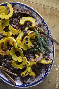 Overhead View of Warm Red Rice Salad with Roasted Squash and Cinnamon