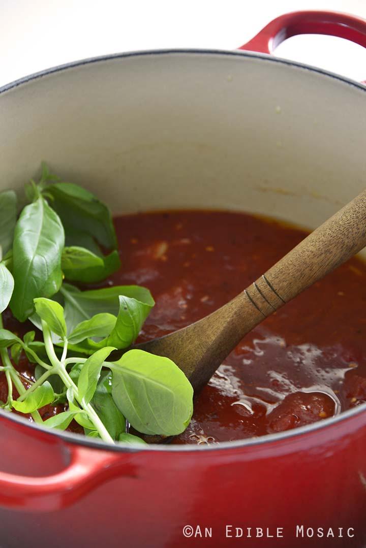 Adding Basil to Marinara Sauce