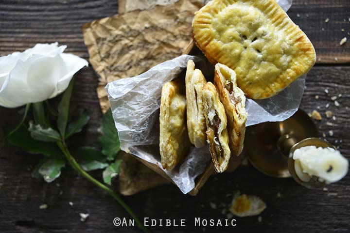 Apple Hand Pies with White Rose and Vintage Props