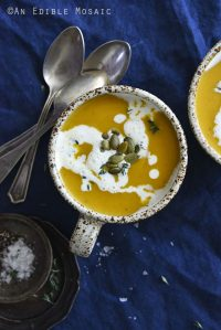 Easy Butternut Squash Soup Recipe with Small Dish of Salt
