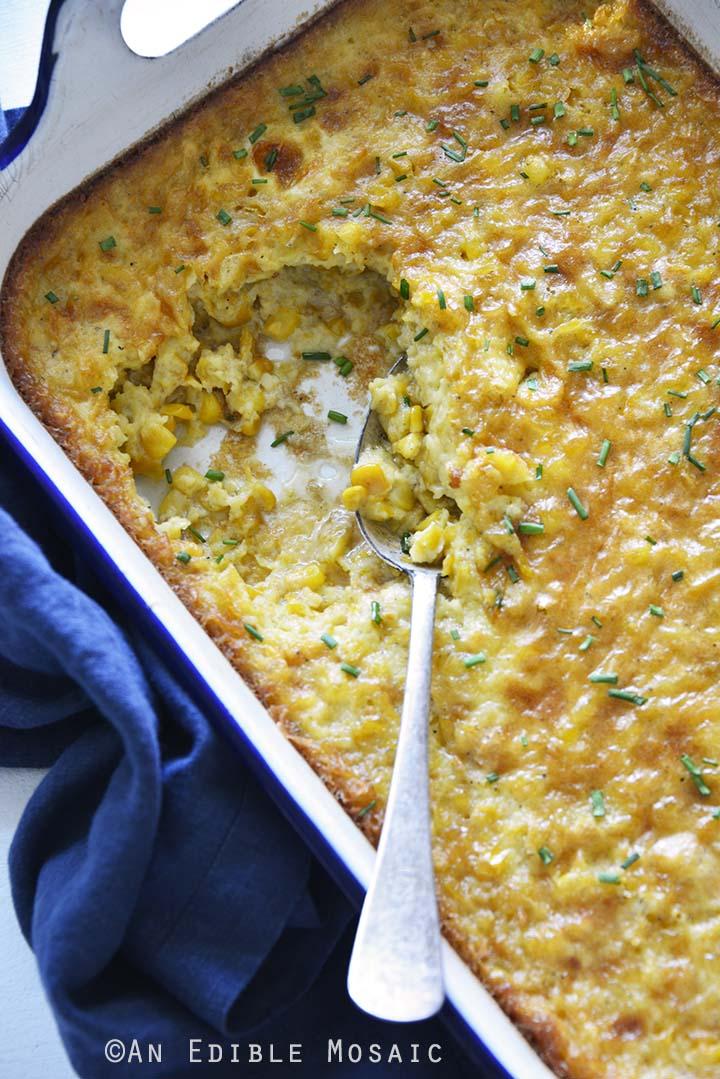 Easy Corn Pudding in Casserole Dish