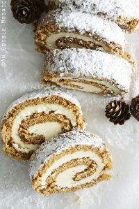 Top View of Easy Gingerbread Cake Roll Recipe on White Wax Paper