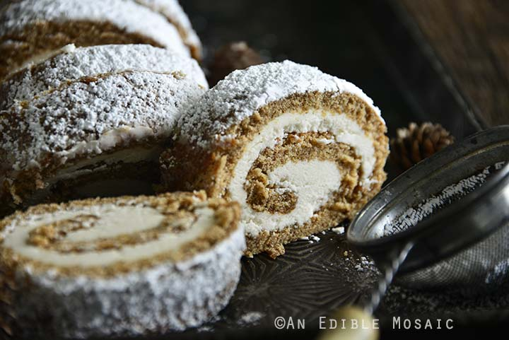 Gingerbread Roll Cake on Serving Tray