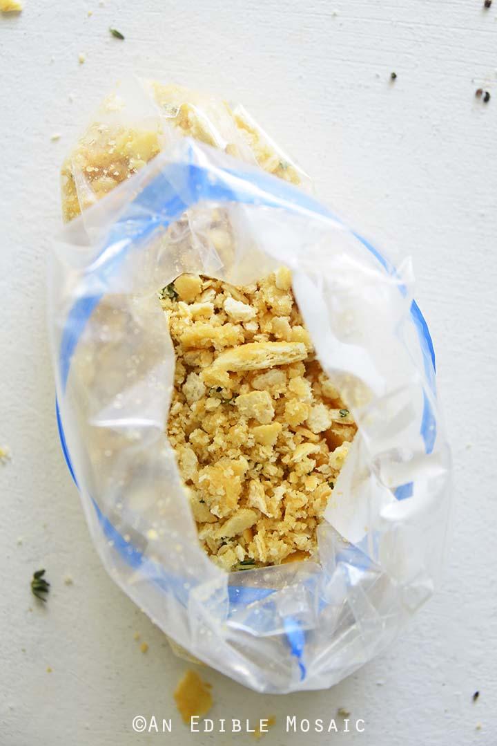 Ritz Cracker Crumbs in Plastic Bag