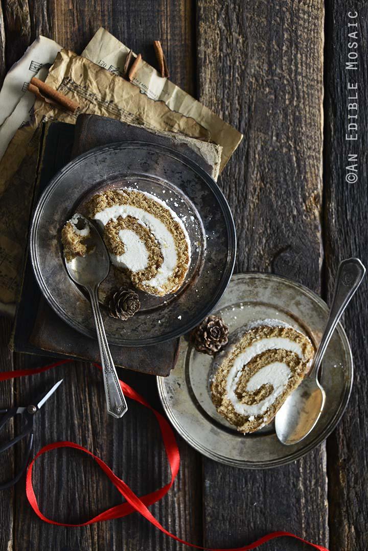 Sliced Gingerbread Cake on Vintage Plate