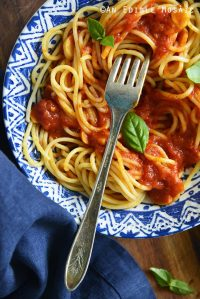 Close Up Top View of Spaghetti Marinara Recipe