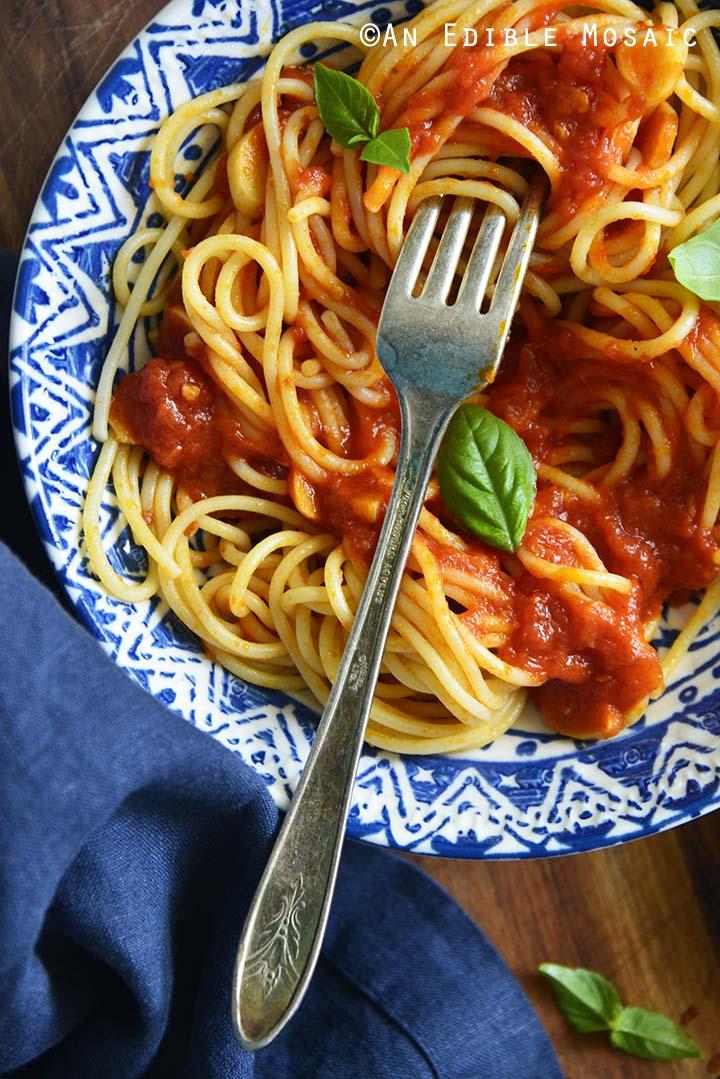 Close Up Top View of Spaghetti Marinara Recipe