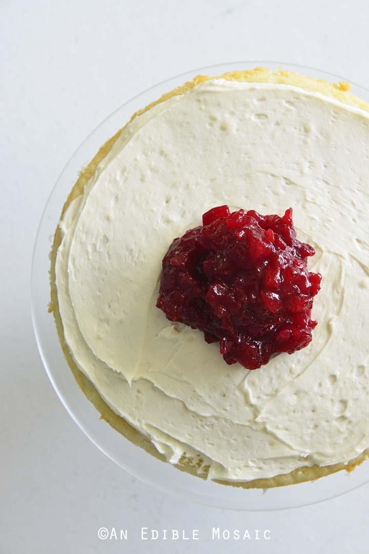 Adding Cranberry Sauce to Layer Cake