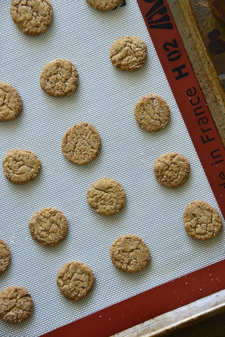 Baked Gingersnaps on Tray