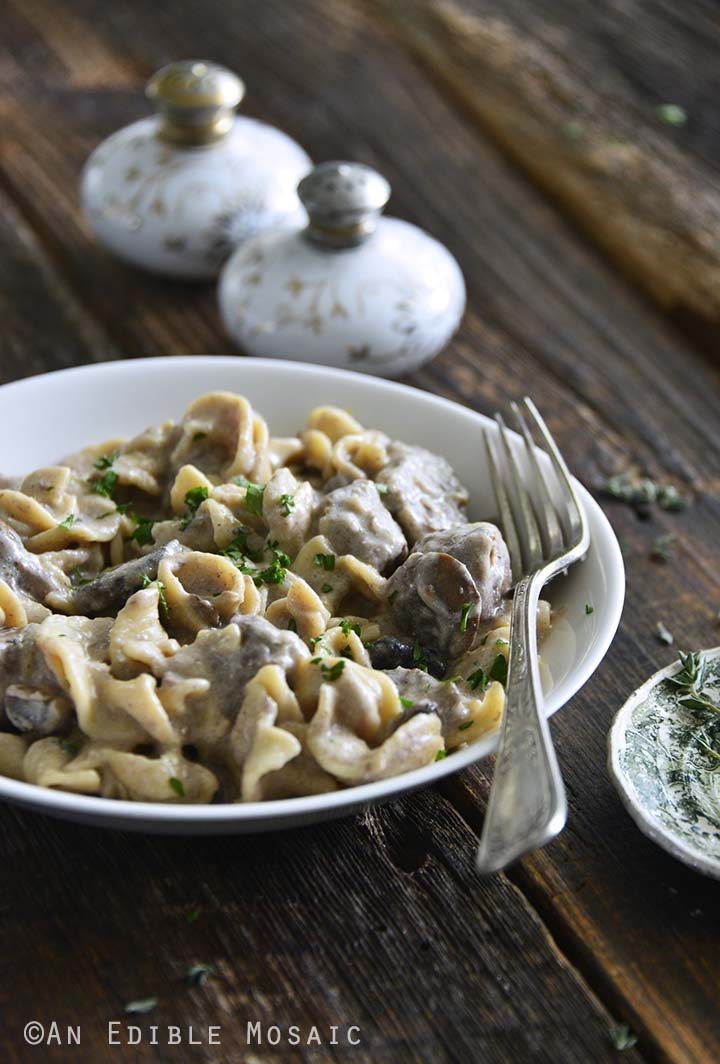 Front View of Beef Stroganoff in Serving Bowl
