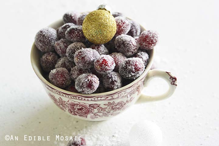 Candied Cranberries with Gold Ornament in Festive Teacup