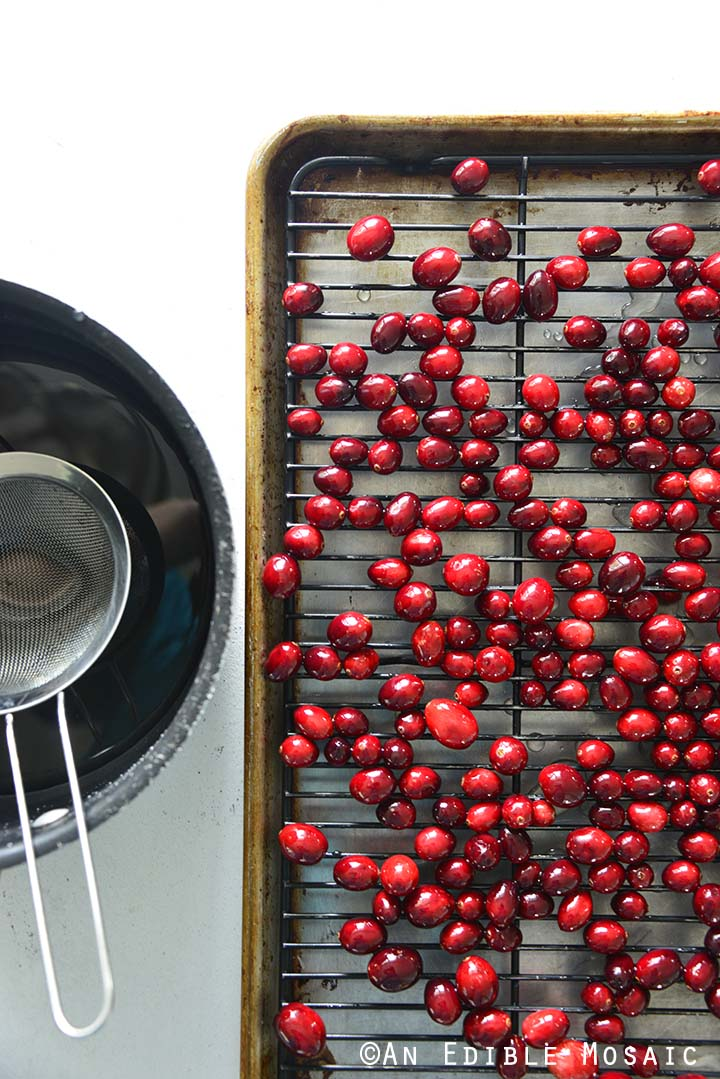 Cranberries Drying on Wire Rack