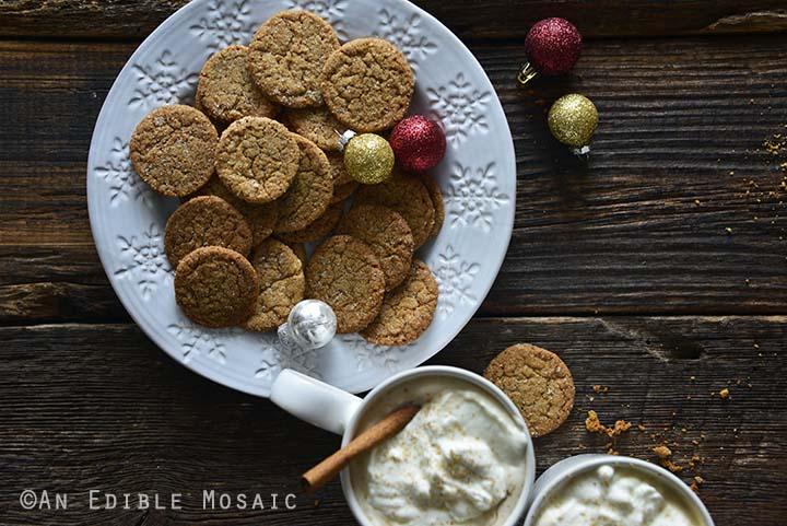 Crispy Gingersnap Cookies on Festive White Plate