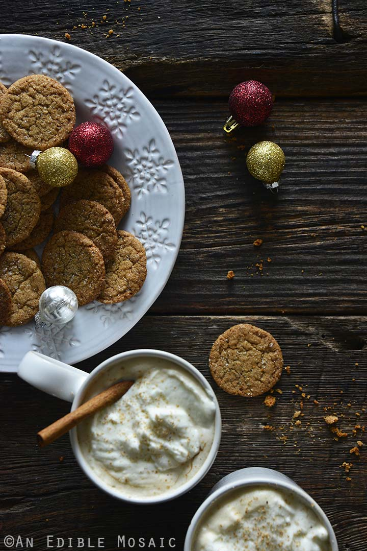 Easy Gingersnap Cookies with Christmas Ornaments on Wooden Table
