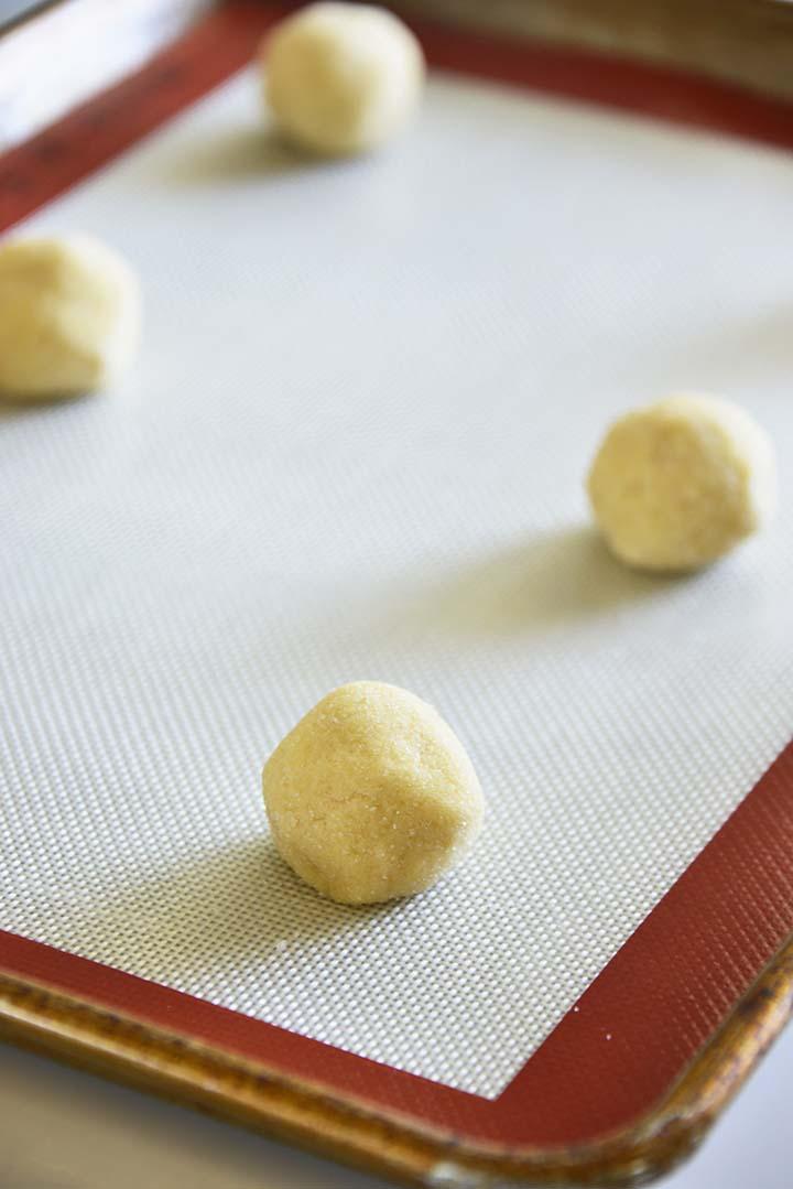 Eggnog Cookie Dough Balls on Tray