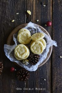 Top View of Eggnog Cookies on Wooden Tray
