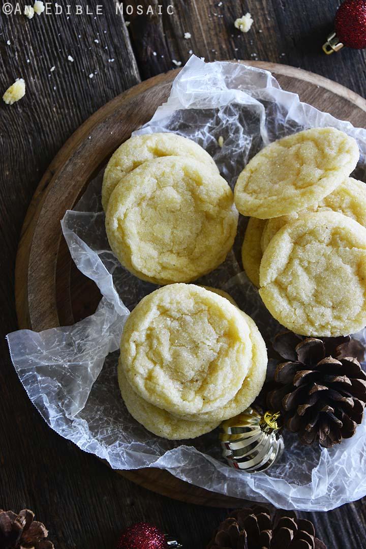 Top View of Eggnog Cookies Recipe on Dark Wooden Table