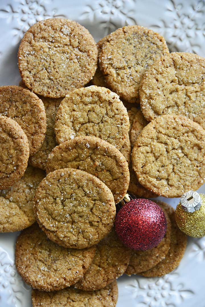Gingersnap Cookies on Festive Plate