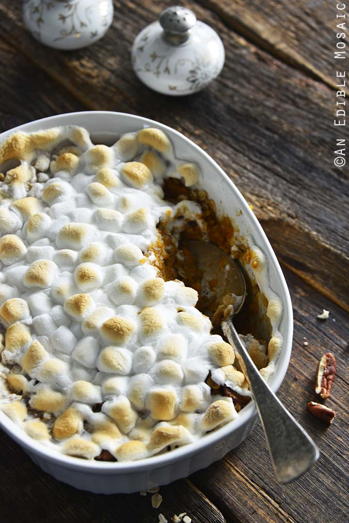 Gluten Free Sweet Potato Casserole with Vintage Salt and Pepper Shakers