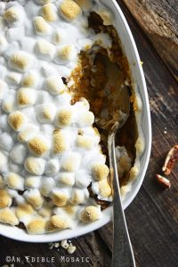 Top View of Southern Sweet Potato Casserole in White Dish