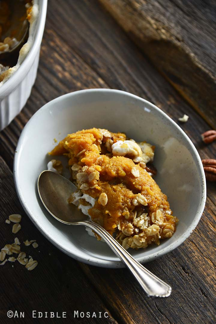 Sweet Potato Casserole in Individual Bowl with Vintage Spoon