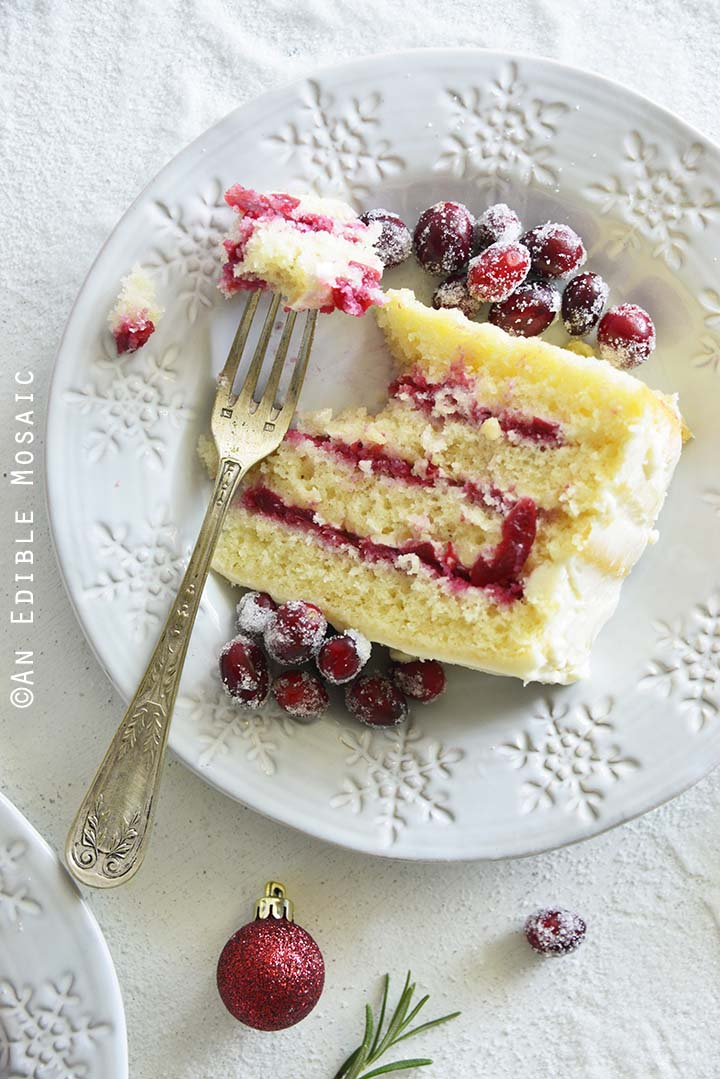 Top View of Eating Cranberry Cake Slice